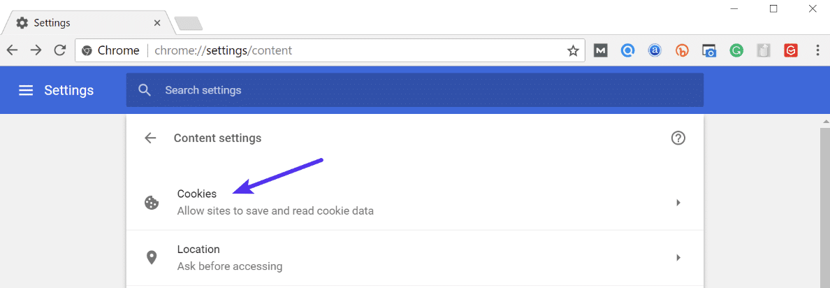 Cookies in Chrome