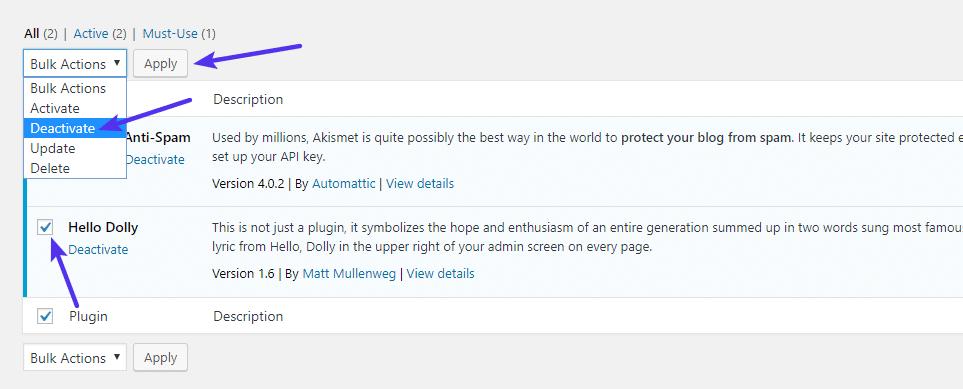 Come disattivare in gruppo i plugin di WordPress dalla dashboard