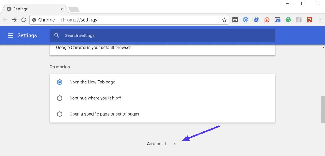 Impostazioni avanzate Chrome
