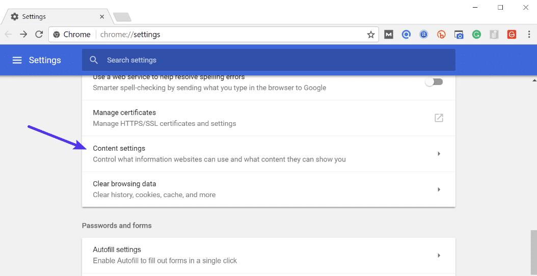 Impostazioni Contenuti in Chrome