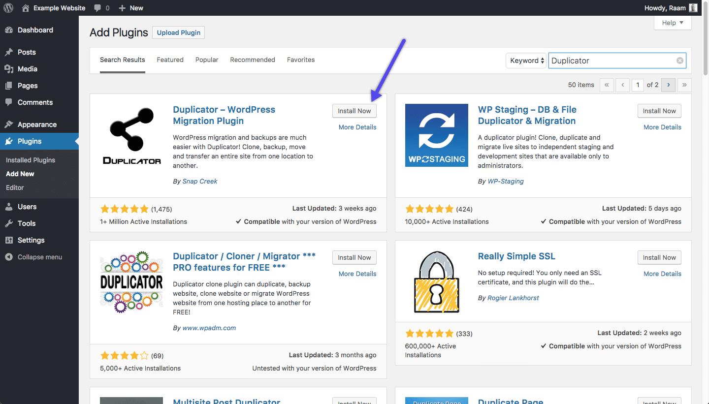 Installare il plugin WordPress Duplicator