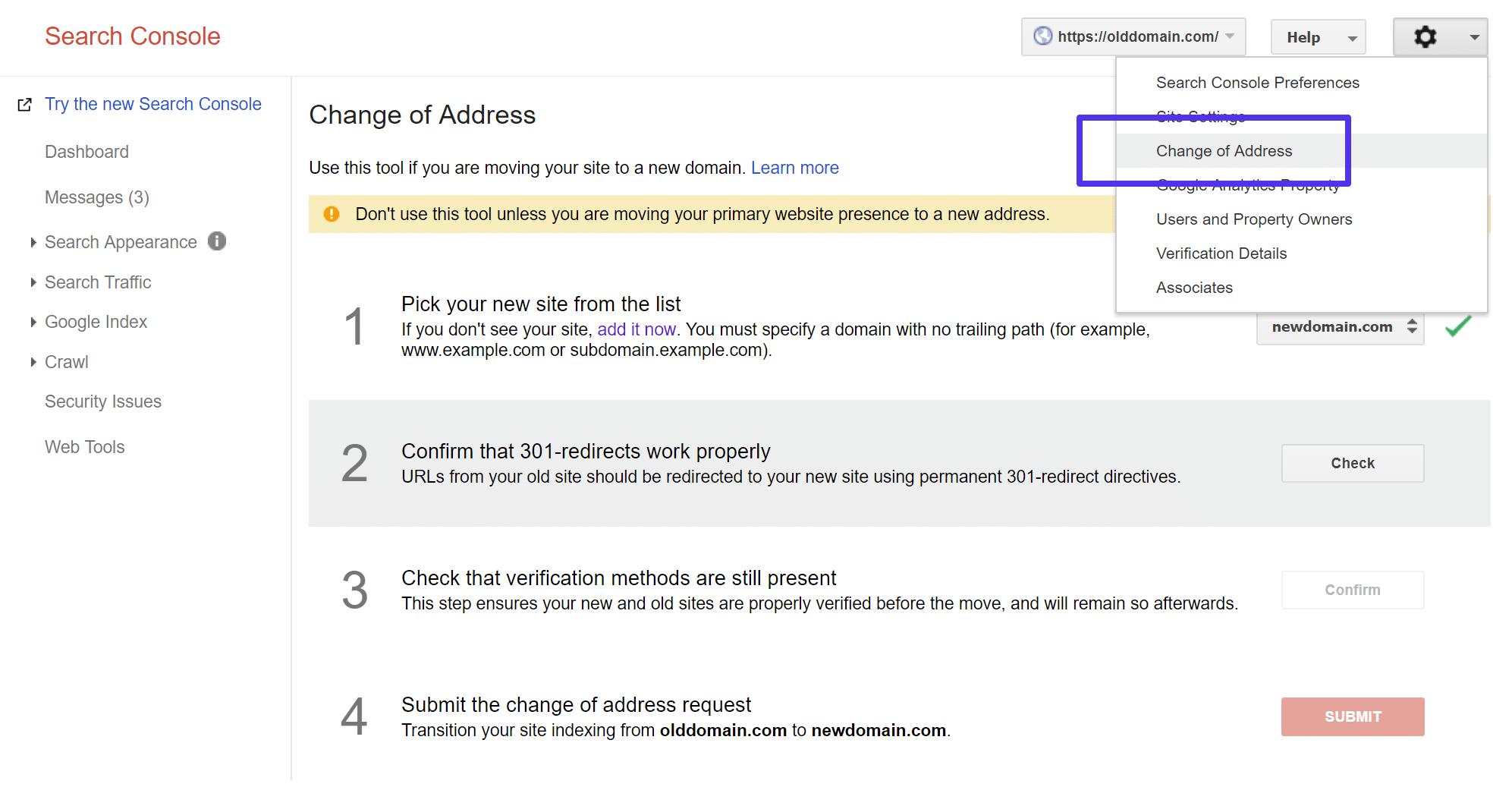 Cambio di indirizzo in Google Search Console