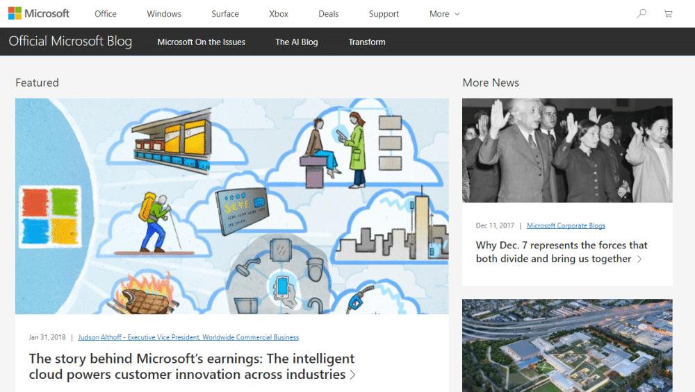 Microsoft usa WordPress per il suo blog ufficiale