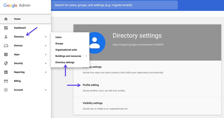 Diritti di modifica del profilo di directory in G Suite