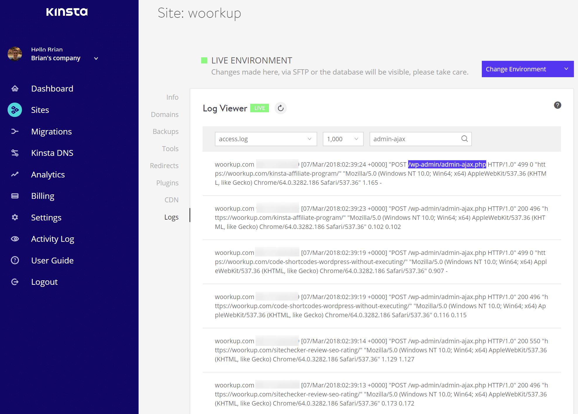 Richieste admin ajax nel registro degli errori di WordPress