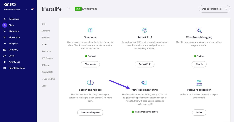 Attivare il monitoraggio di New Relic in MyKinsta.