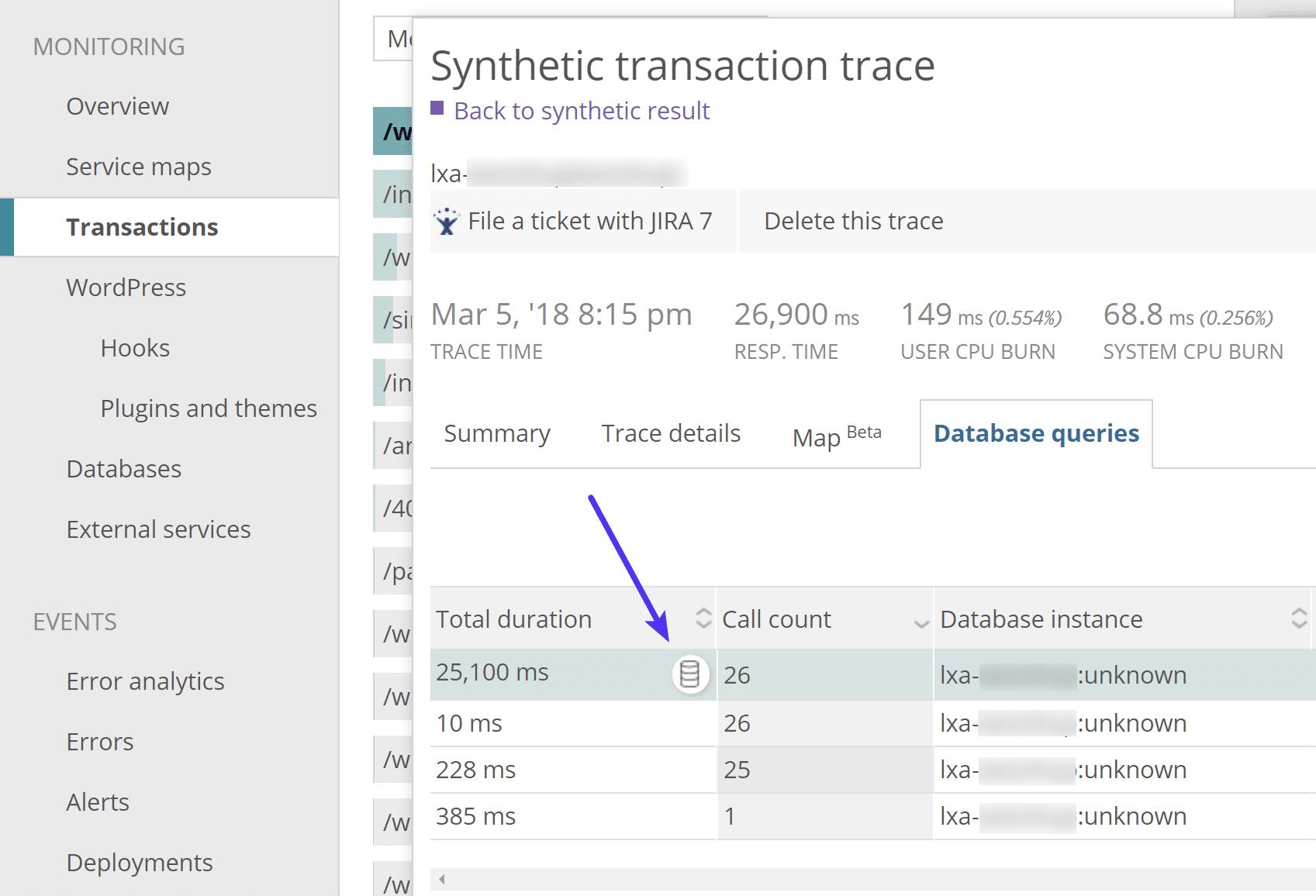 Traccia delle query del database