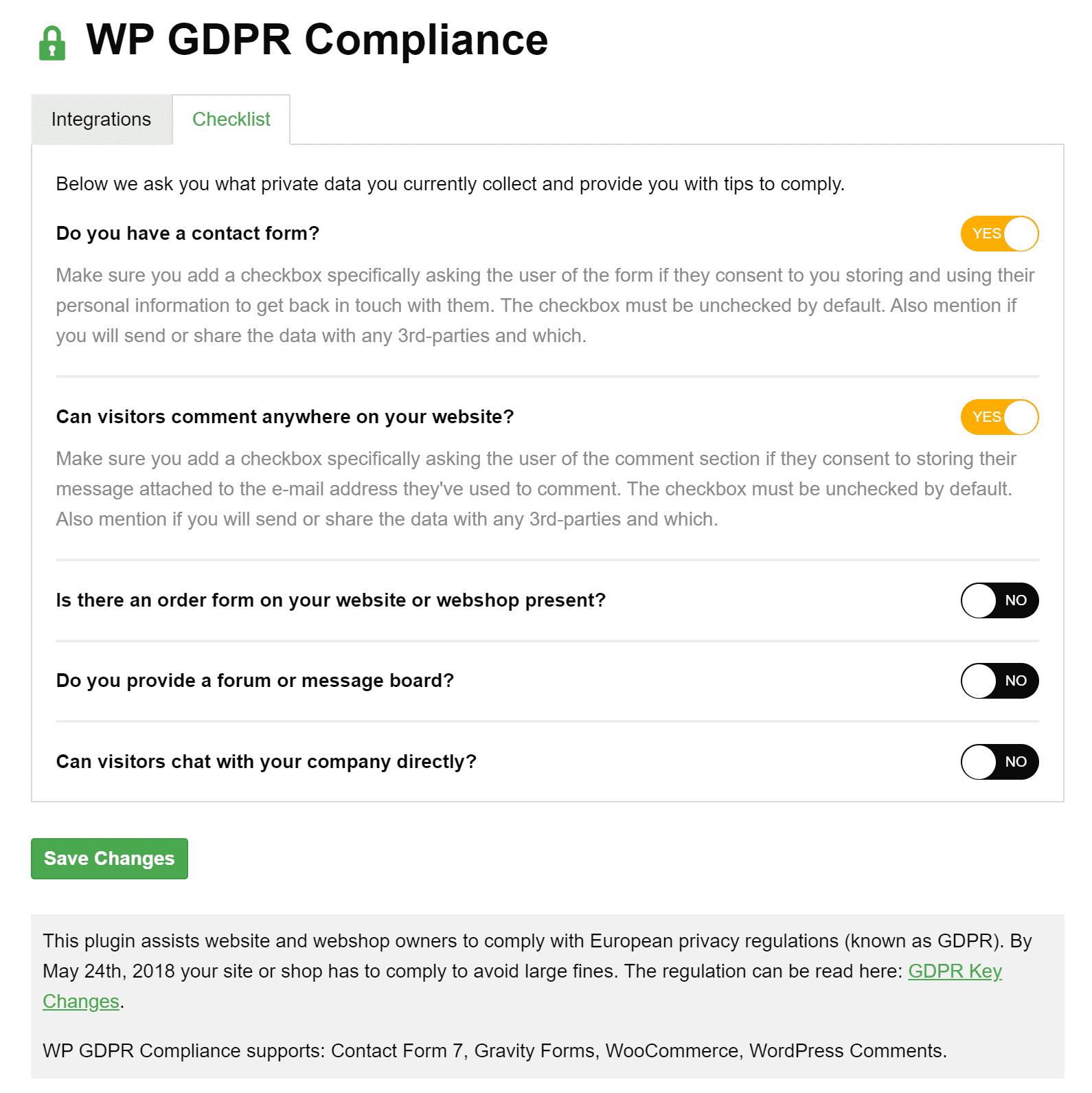 Conformità WP GDPR