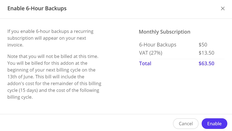 Abilitazione dei backup a 6 ore