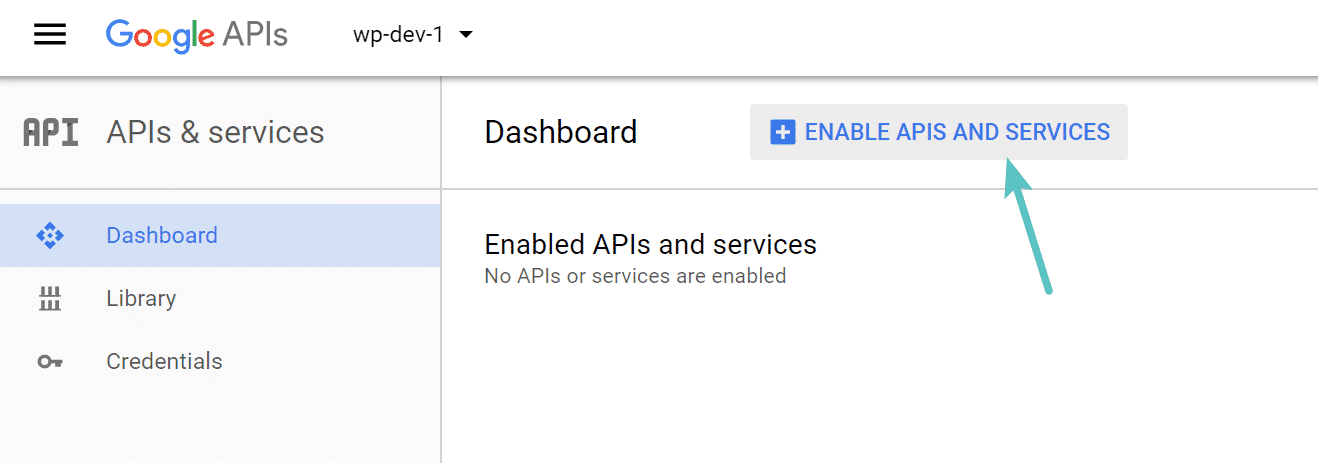 Abilitazione API Google Project