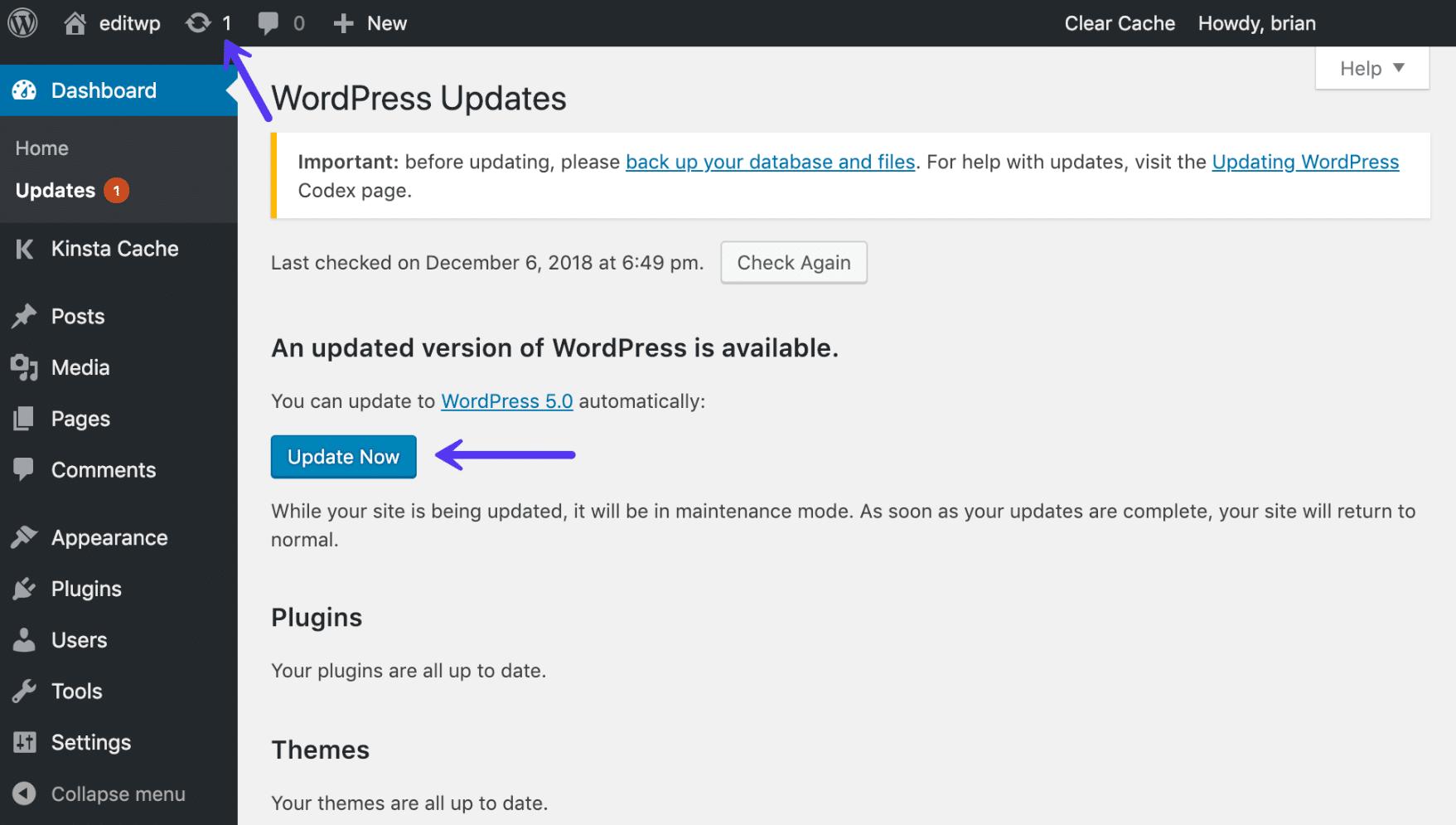 Aggiornare il core di WordPress