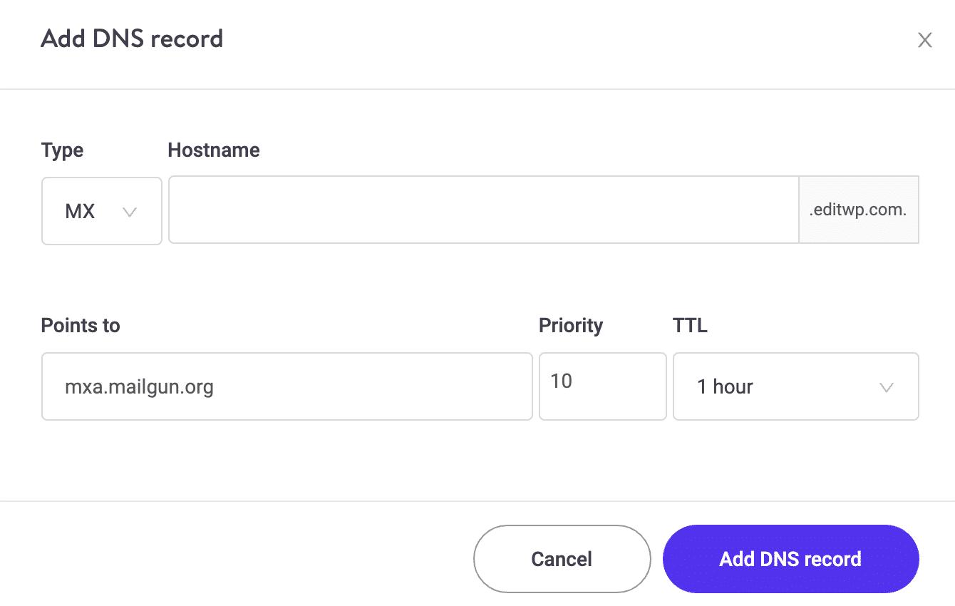 Aggiungere record MX DNS