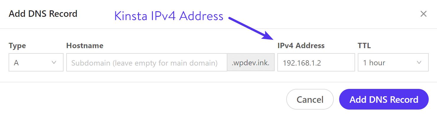 Aggiungi un record DNS