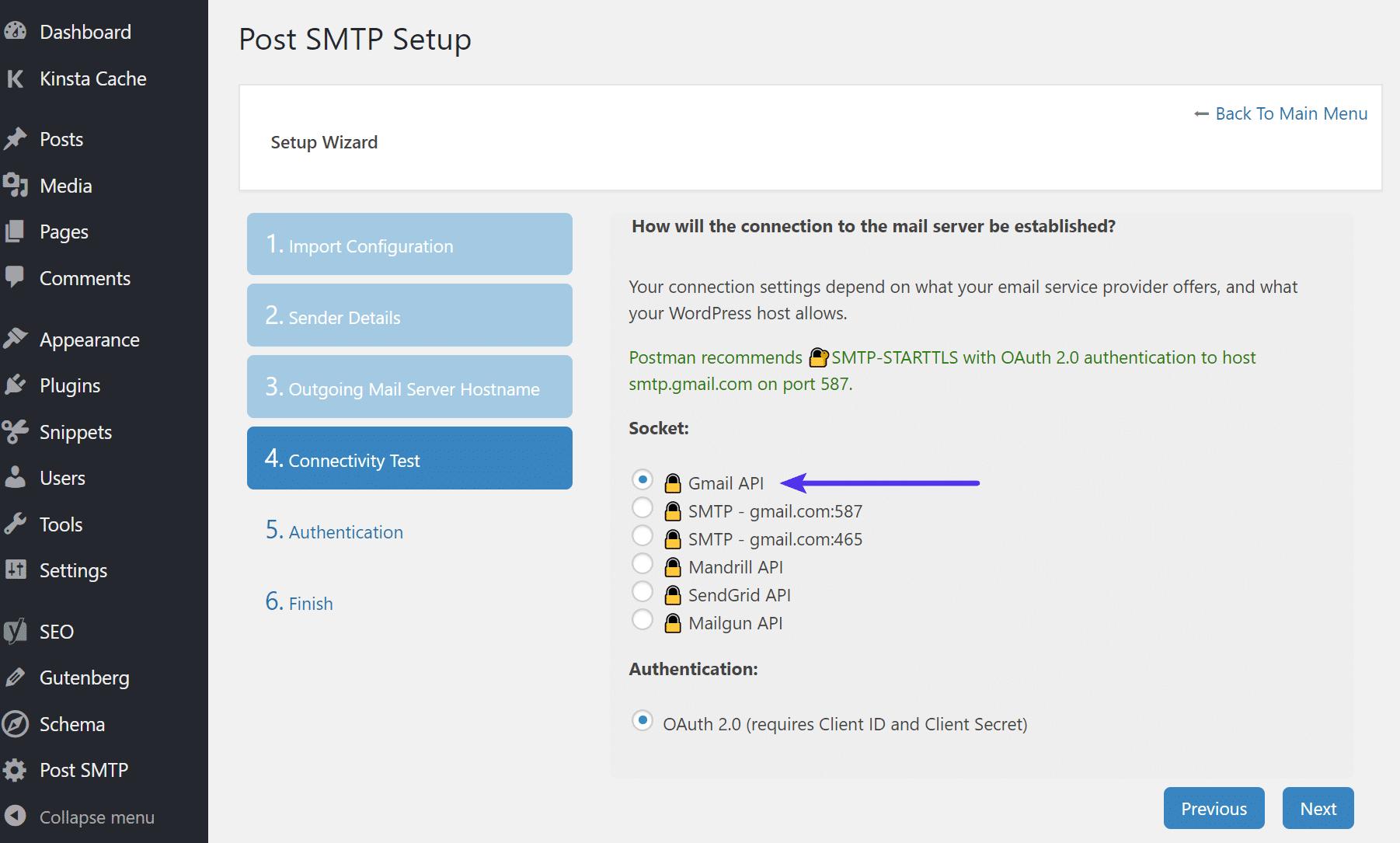 API di Gmail in Post SMTP