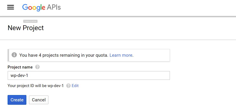 Assegnazione del nome al progetto Google