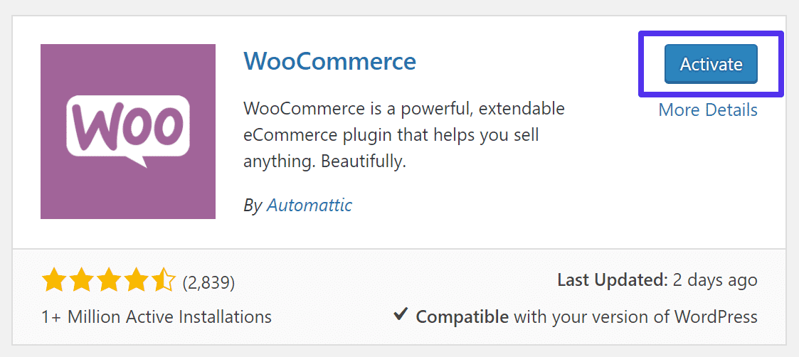 Attivazione di WooCommerce