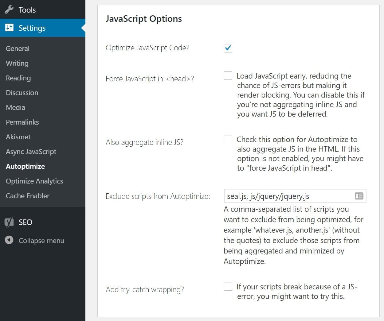 Autoptimize Ottimizzare il codice JavaScript