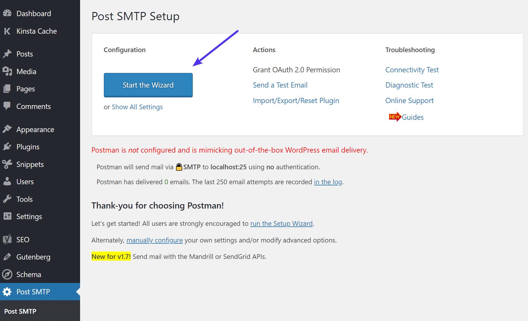 Avvio della procedura guidata di Post SMTP