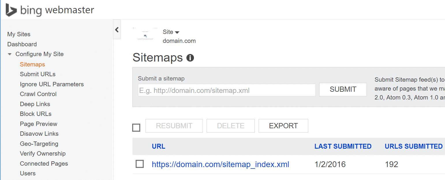 HTTPS in Bing Webmaster Tools