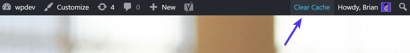 Cancellare la cache dalla barra degli strumenti di amministrazione di WordPress