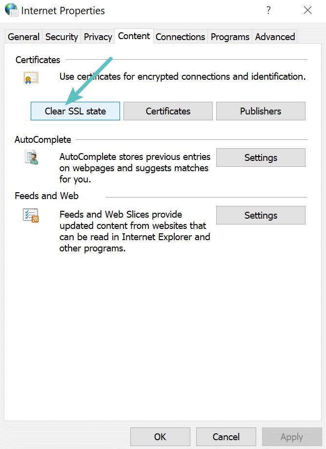 Cancellare lo stato SSL in Chrome per Windows