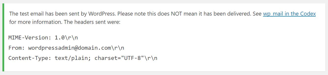 Conferma invio email di prova in WordPress