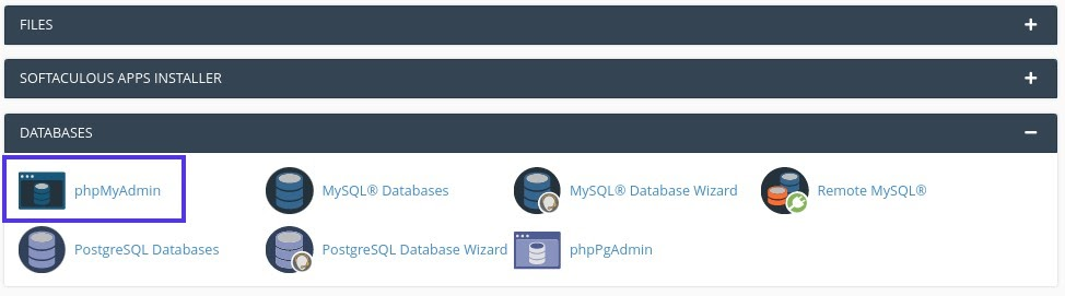 Accedere a PhpMyAdmin in cPanel