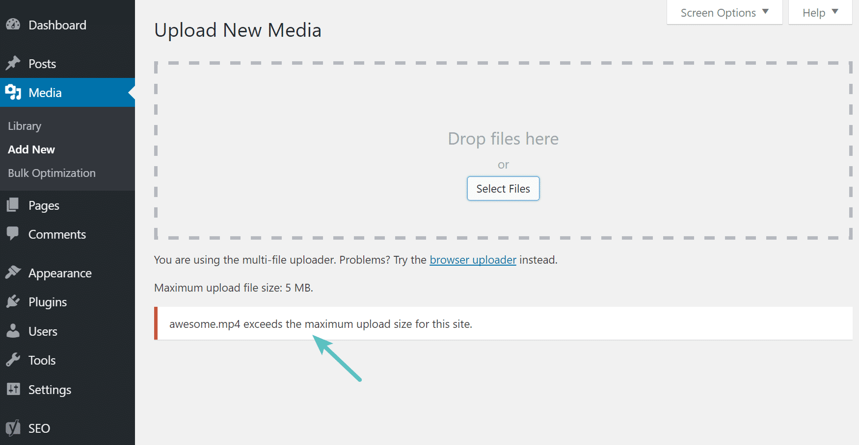 Errore Max upload size in WordPress