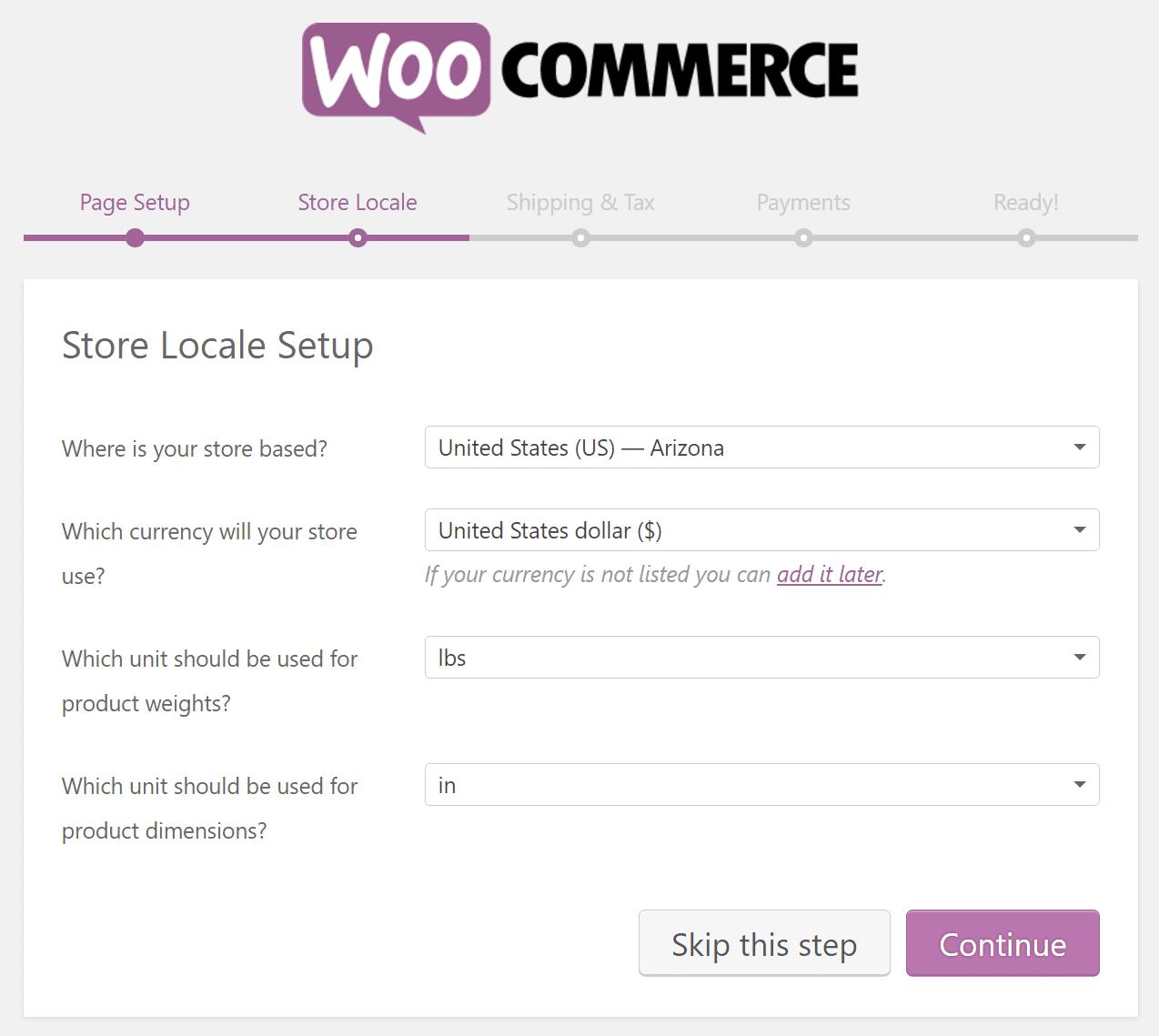 Impostazioni locali negozio WooCommerce