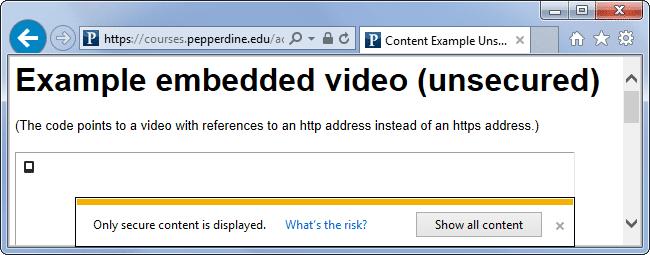 Avviso di contenuto misto in Internet Explorer