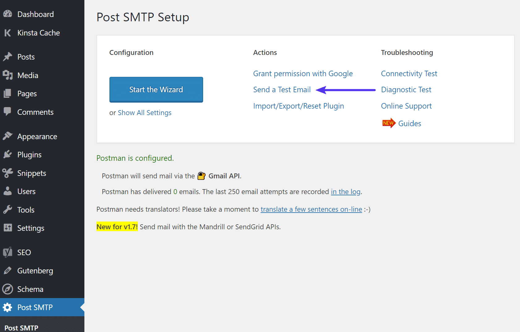 Invio email di prova in Post SMTP
