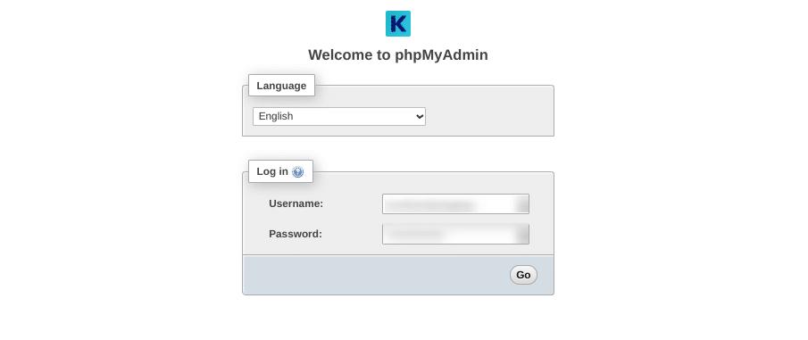 La pagina di accesso a phpMyAdmin di Kinsta