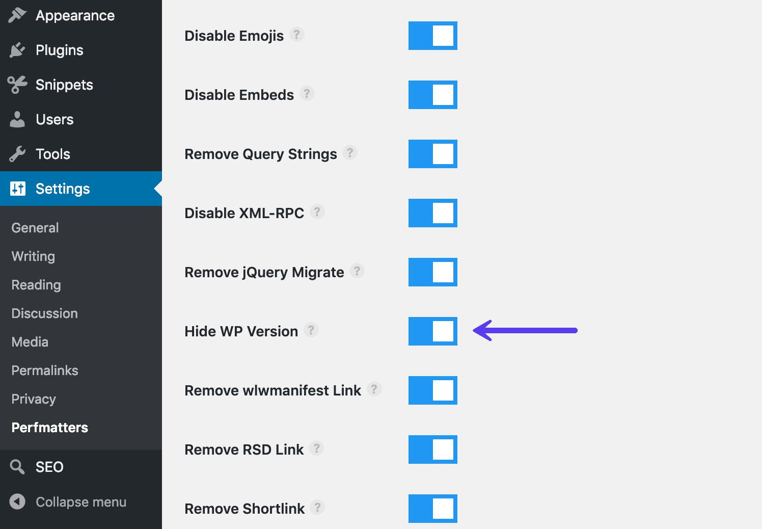 Nascondere la versione di WordPress con perfmatters