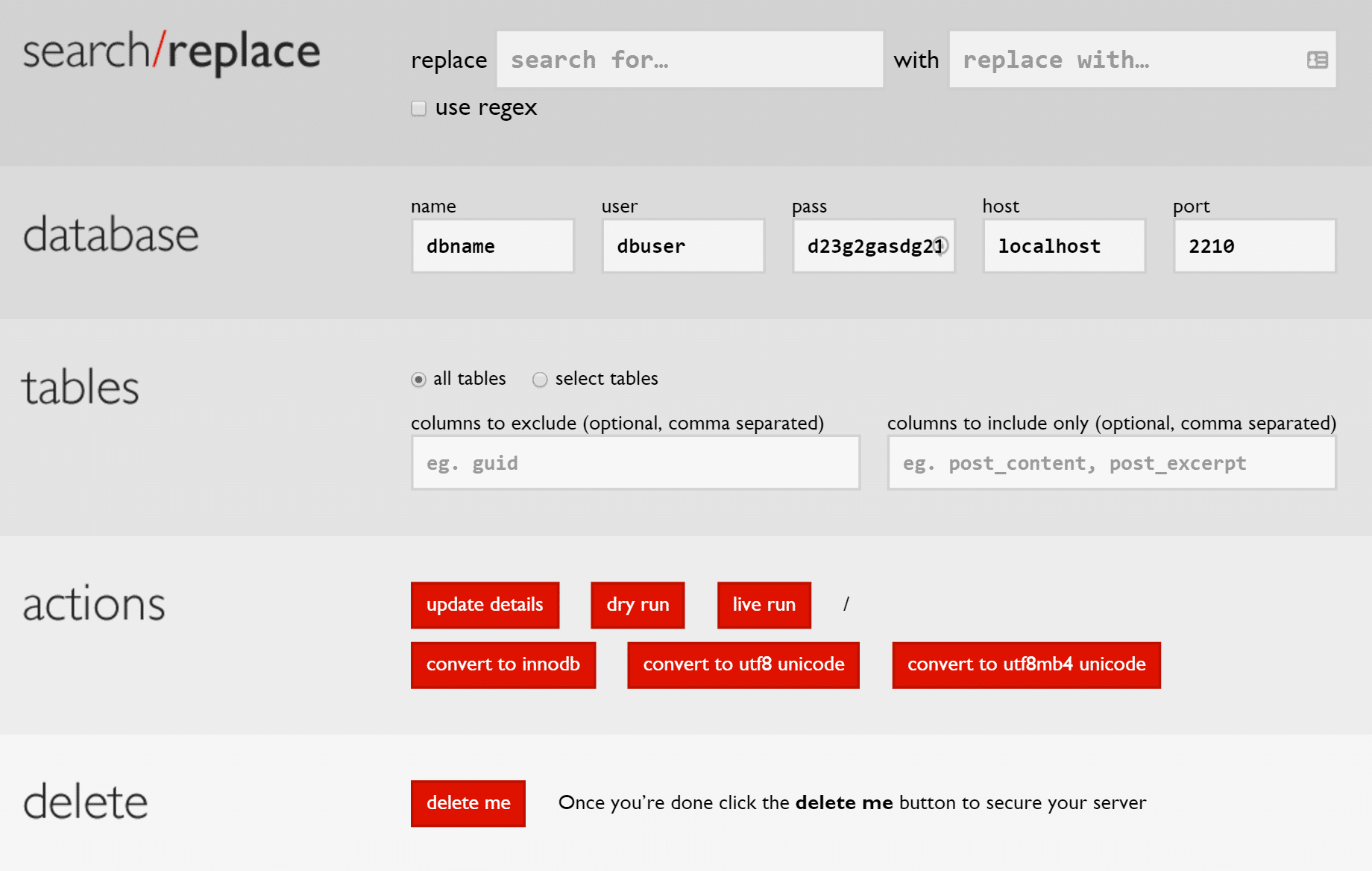 Opzioni search replace