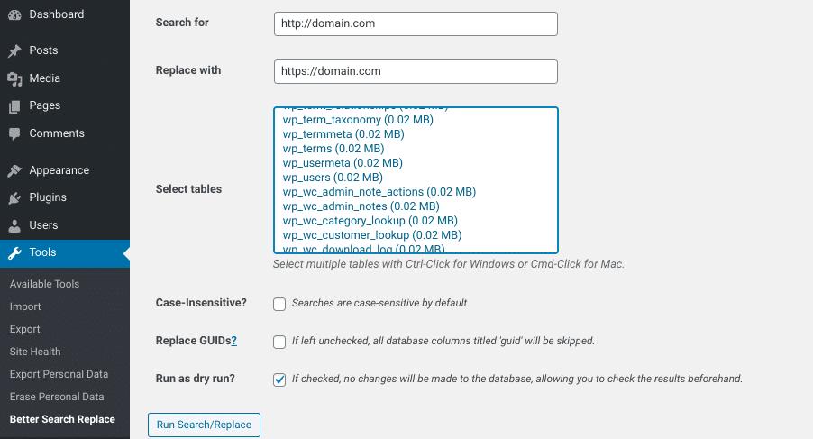 Opzioni di Better Search Replace