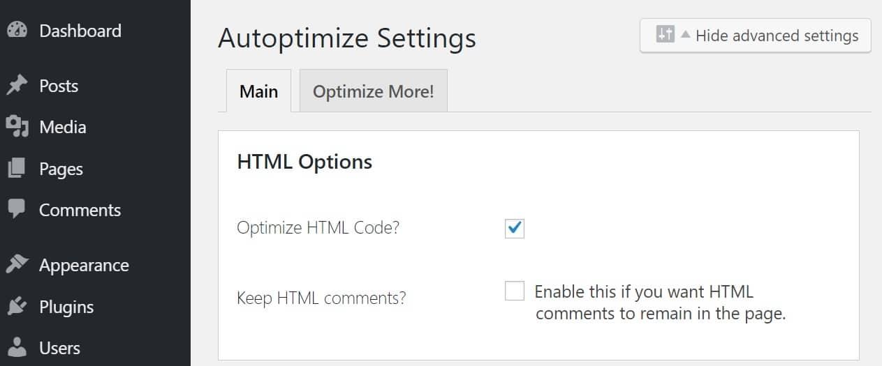 Ottimizzare il codice HTML in Autoptimize