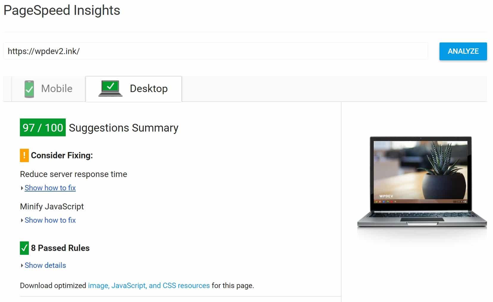 PageSpeed Insights dopo lo sfruttamento della cache del browser