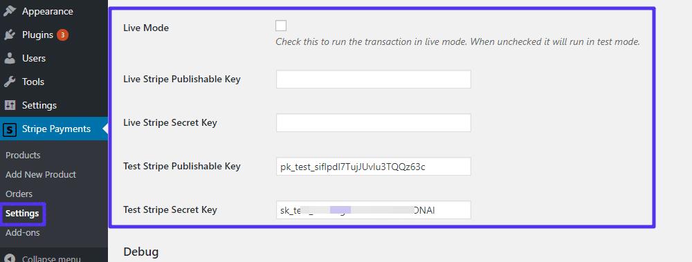 Inserire le chiavi API