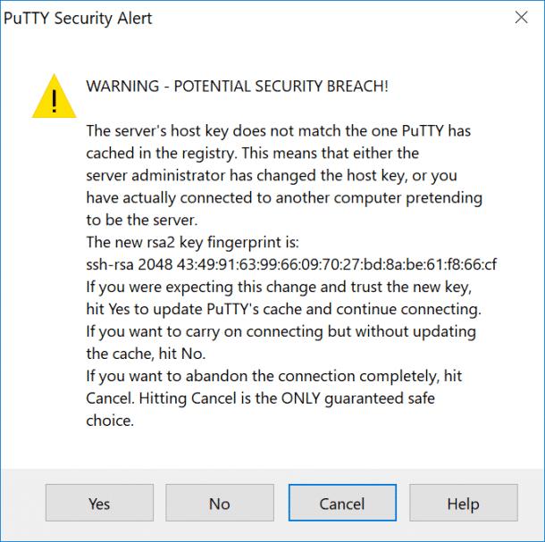Avviso di sicurezza PuTTY