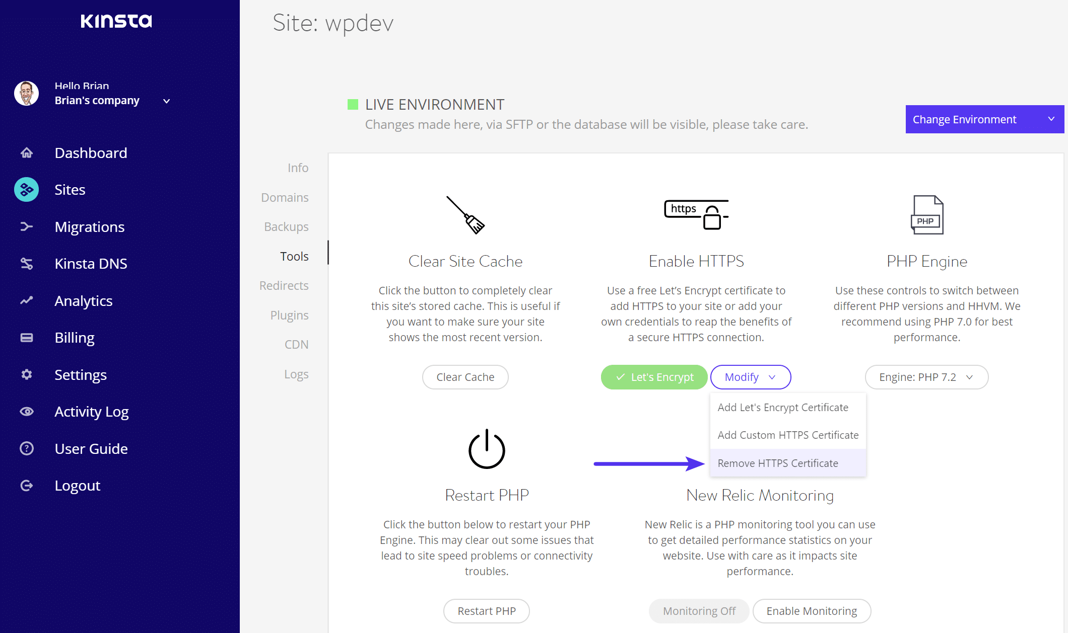 Rimuovi certificato HTTPS