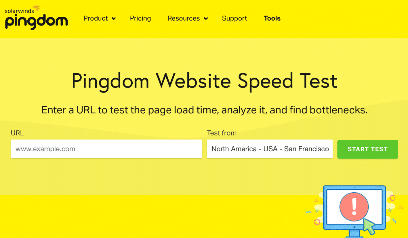 Speed test dei siti web di Pingdom