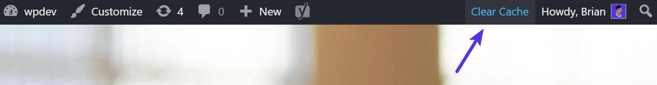 Svuotare la cache dalla barra degli strumenti di WordPress