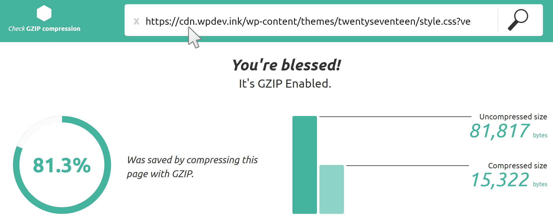Check GZIP Compression Tool su CDN