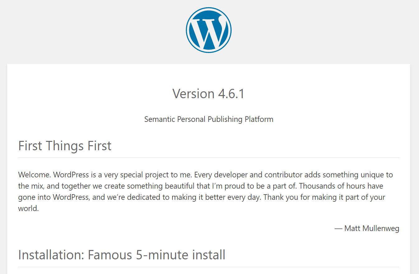 La versione di WordPress nel file readme