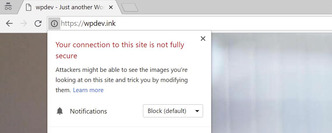 Avviso di contenuto misto in Chrome