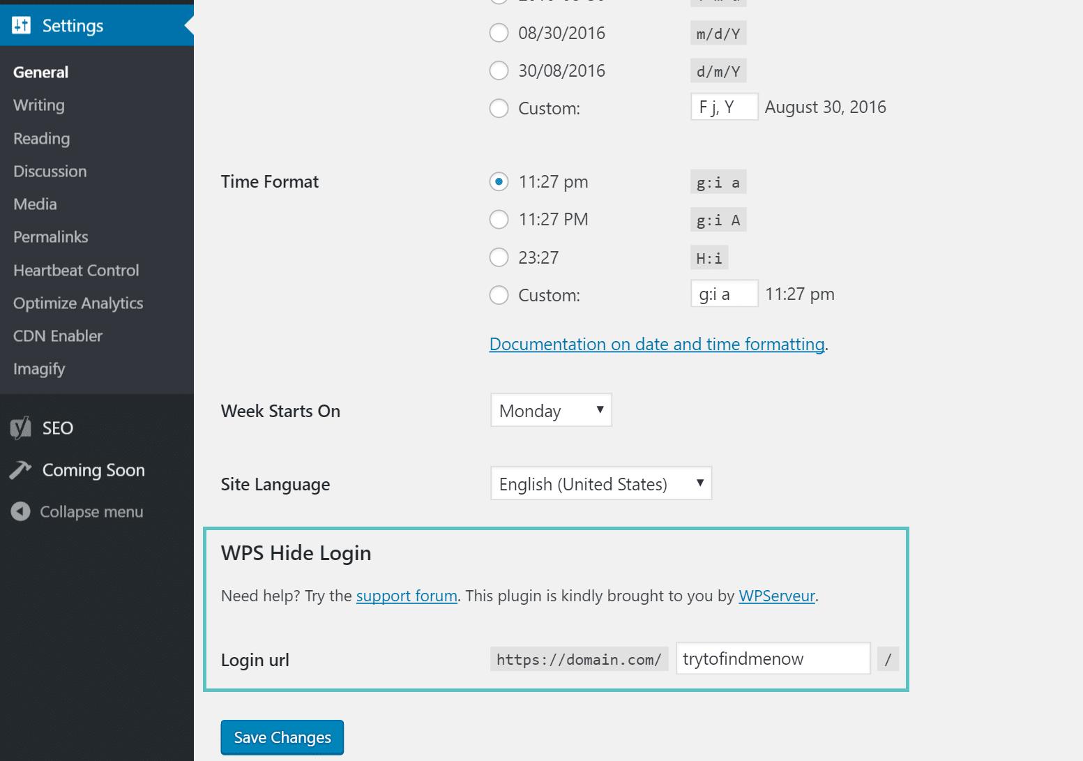 Cambiare la URL di accesso a WordPress