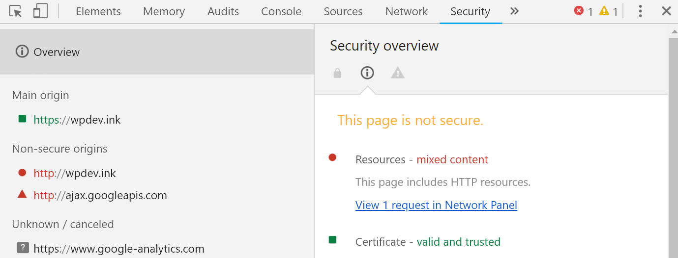 Chrome DevTools security