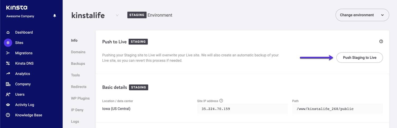 Sposta online l'ambiente staging WordPress.