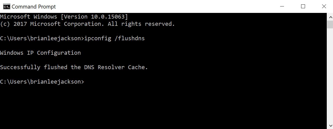 Prompt dei command - flush DNS