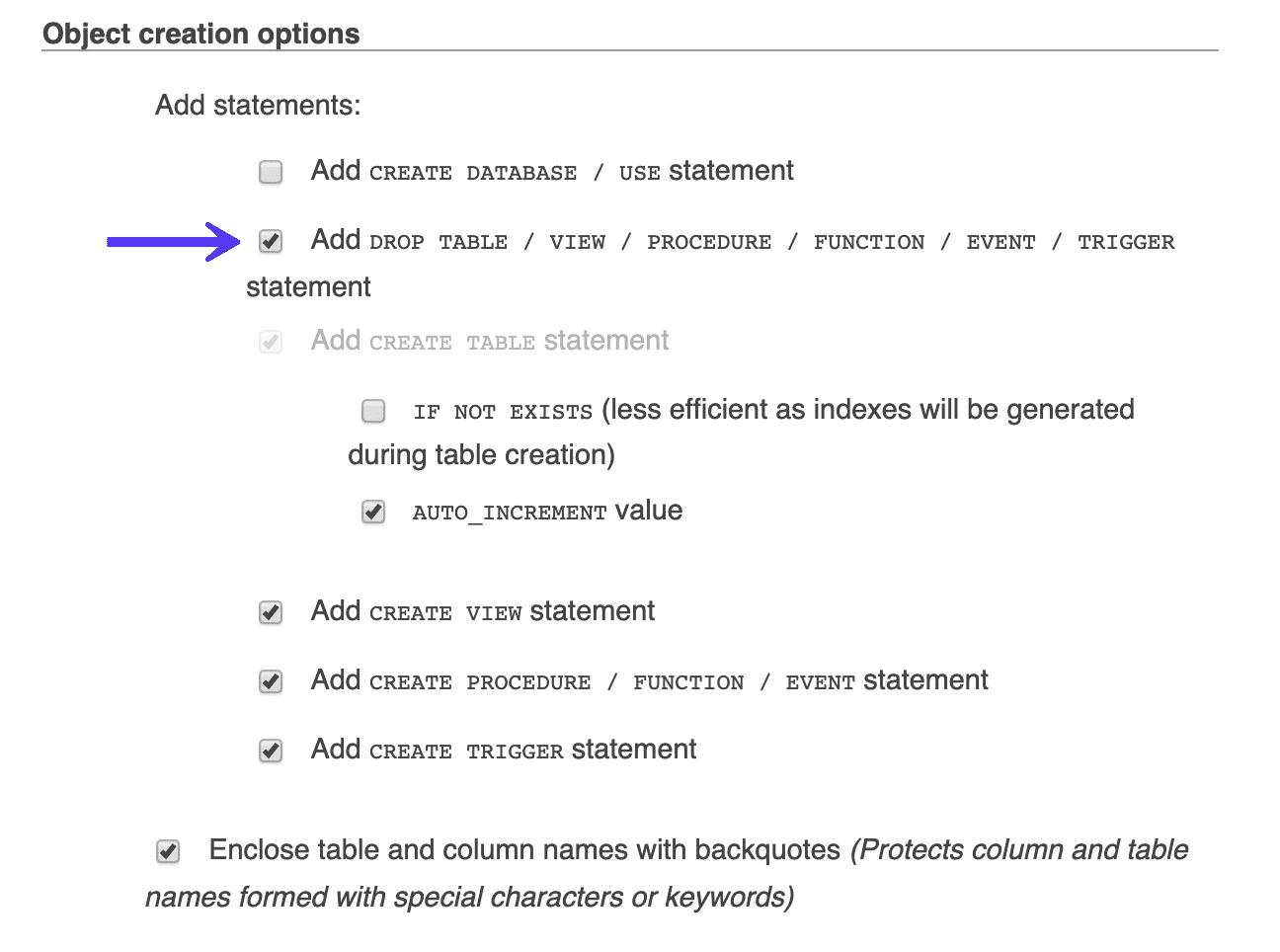 Aggiungi drop table in phpMyAdmin